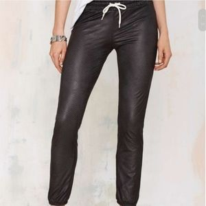 Monrow Perforated Faux Leather Lined Joggers, M